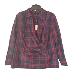 Talbots Silk and Cotton Blend Plaid 3/4 Sleeve Top